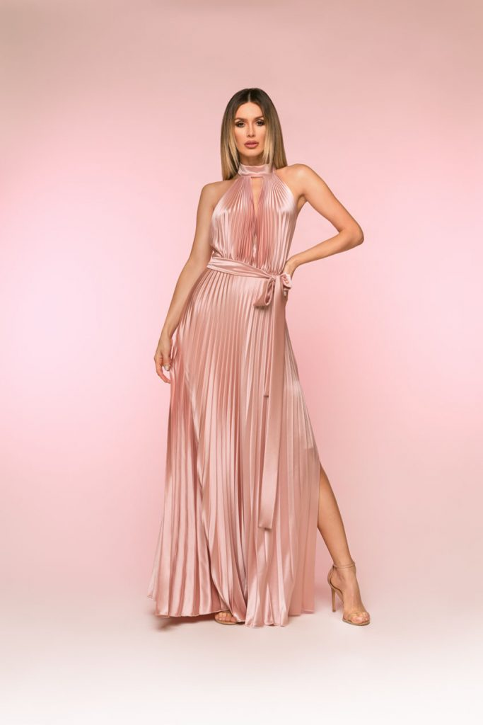 blush pleated gown